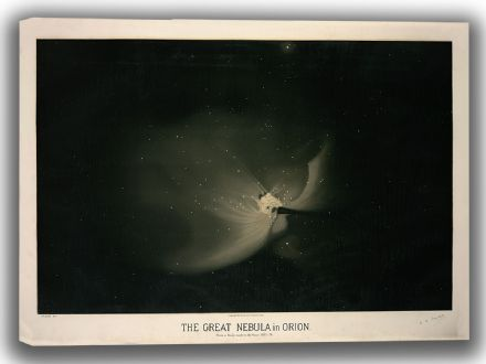 Trouvelot, Etienne Leopold: The Great Nebula in Orion. (The Trouvelot Astronomical Drawings, 1882). Astronomy/Space Canvas. Sizes: A4/A3/A2/A1 (00101)